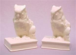 PAIR OF ROOKWOOD POTTERY OWL BOOKENDS