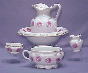 5 PC. ROSE DECORATED CHAMBER SET