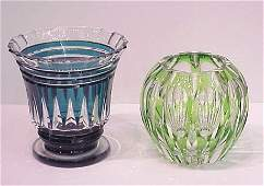 1064C: MOSER QUALITY CRYSTAL ROSE BOWL AND VA