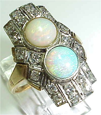 1070C: DARLING DIAMOND AND OPAL RING