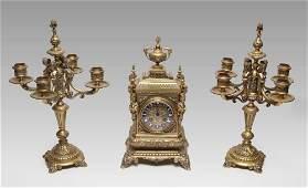 4 ORNATE FIGURAL GILT BRONZE FRENCH CLOCK GARNITURE