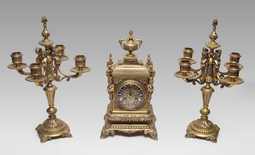 4: ORNATE FIGURAL GILT BRONZE FRENCH CLOCK GARNITURE