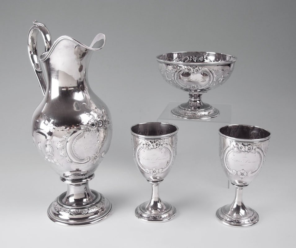 6: IMPORTANT JACCARD & CO. COIN SILVER PITCHER SET