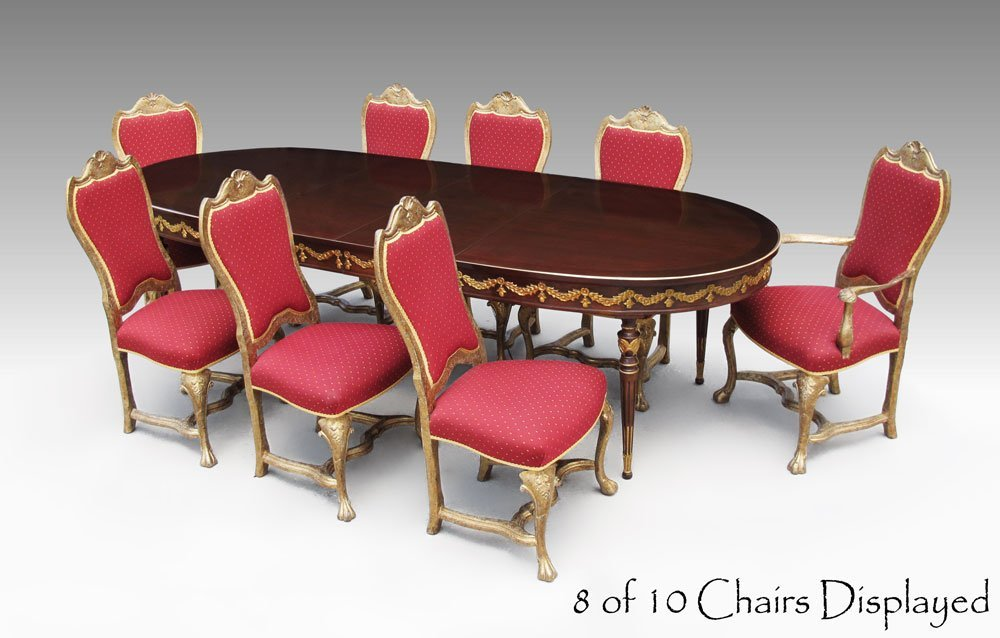 7: 10 ITALIAN GILT DINING CHAIRS AND TABLE