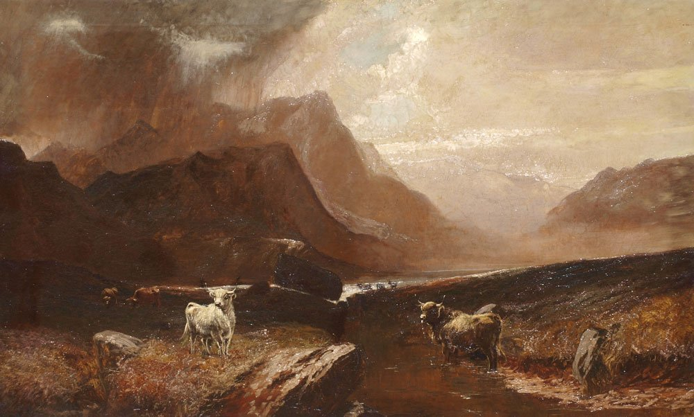 13: LARGE PAINTING HIGHLAND LANDSCAPE POSSIBLY PERCY