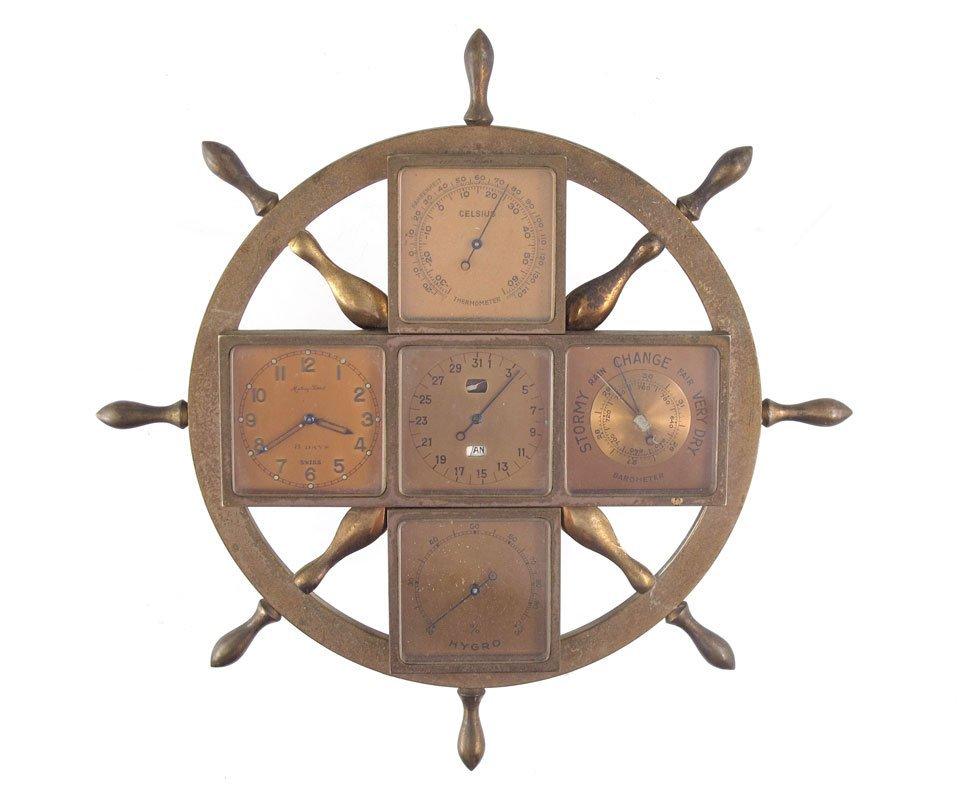 18: MATHEY-TISSOT SHIPS WHEEL CLOCK / WEATHER STATION