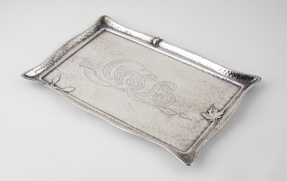 36: TIFFANY & CO. HAMMERED STERLING TRAY WITH SCARAB