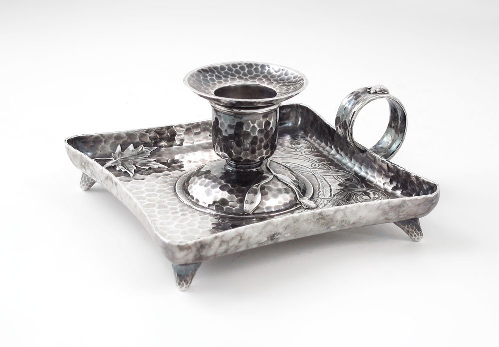 37: TIFFANY & CO. HAMMERED STERLING CANDLE STAND