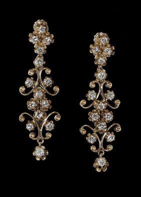 14K GOLD 1.55 CTW DIAMOND DANGLE DROP EARRINGS