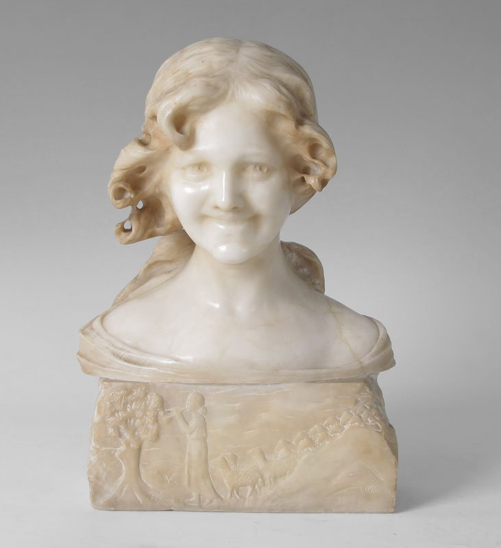 10: CARVED ALABASTER MAIDEN NOUVEAU SCULPTURE