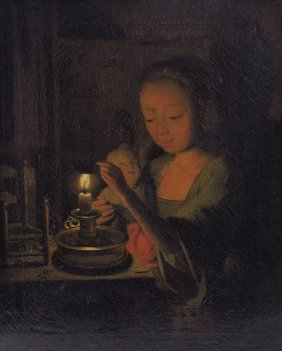 EARLY SCHALCKEN CANDLELIT INTERIOR PAINTING