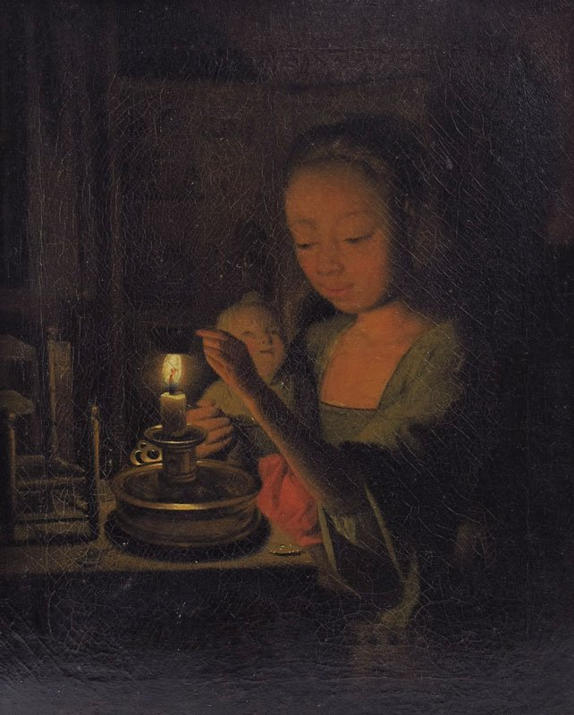 15: EARLY SCHALCKEN CANDLELIT INTERIOR PAINTING