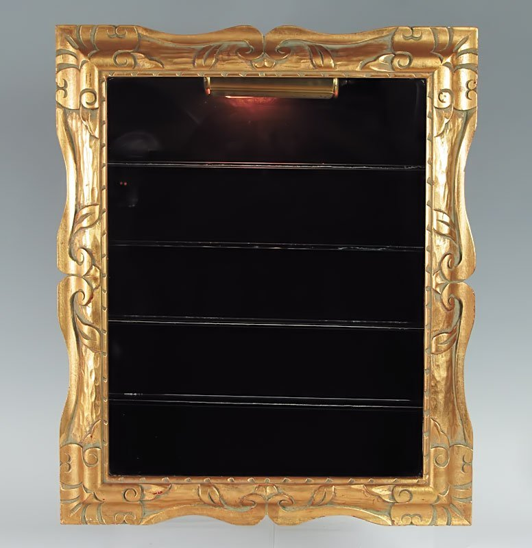 346: GOLD FRAME WALL MOUNTED CURIO DISPLAY CABINET