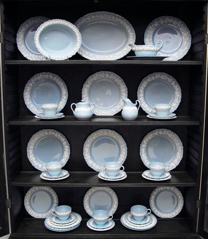 16C: 46 PC FOR 8 WEDGWOOD BLUE QUEENSWARE CHINA