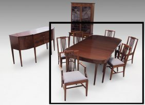 INLAID MAHOGANY EXTENSION DINING TABLE AND CHAIRS