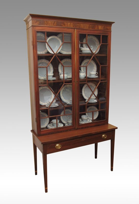 16B: INLAID MAHOGANY CHINA CABINET ON STAND, CA. 1900