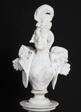 10A: SIGNED ITALIAN ALABASTER BUST