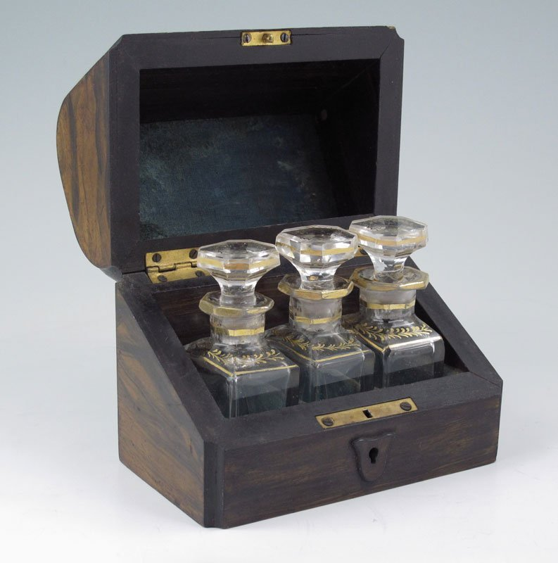 18A: 19th c ROSEWOOD SCENT BOTTLES in  CASKET