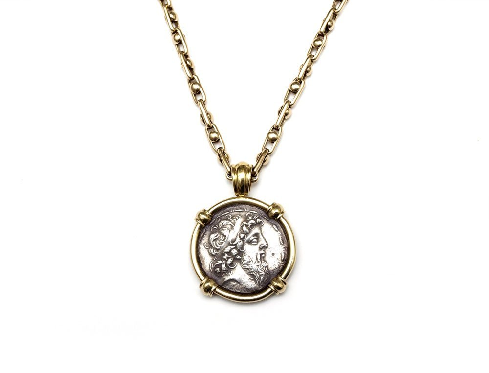 10: ANCIENT GREEK COIN 14k FRAME & NECKLACE CHAIN 66 G