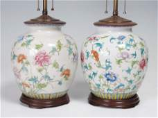 195: PAIR CHINESE POLYCHROME CERAMIC LAMPS