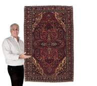 223: SEMI-ANTIQUE PERSIAN SAROUK HAND KNOTTED WOOL RUG