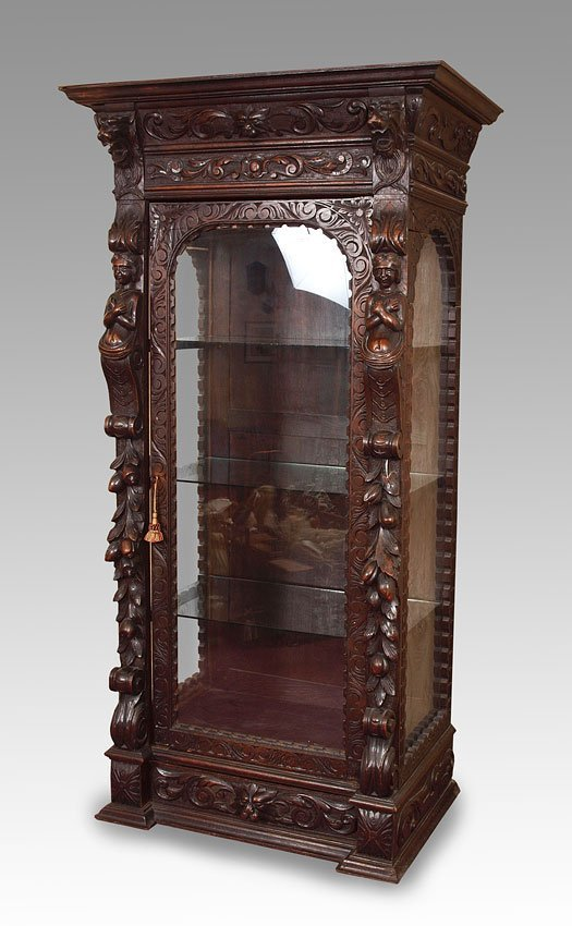 16: EARLY CARVED FIGURAL GERMAN CABINET