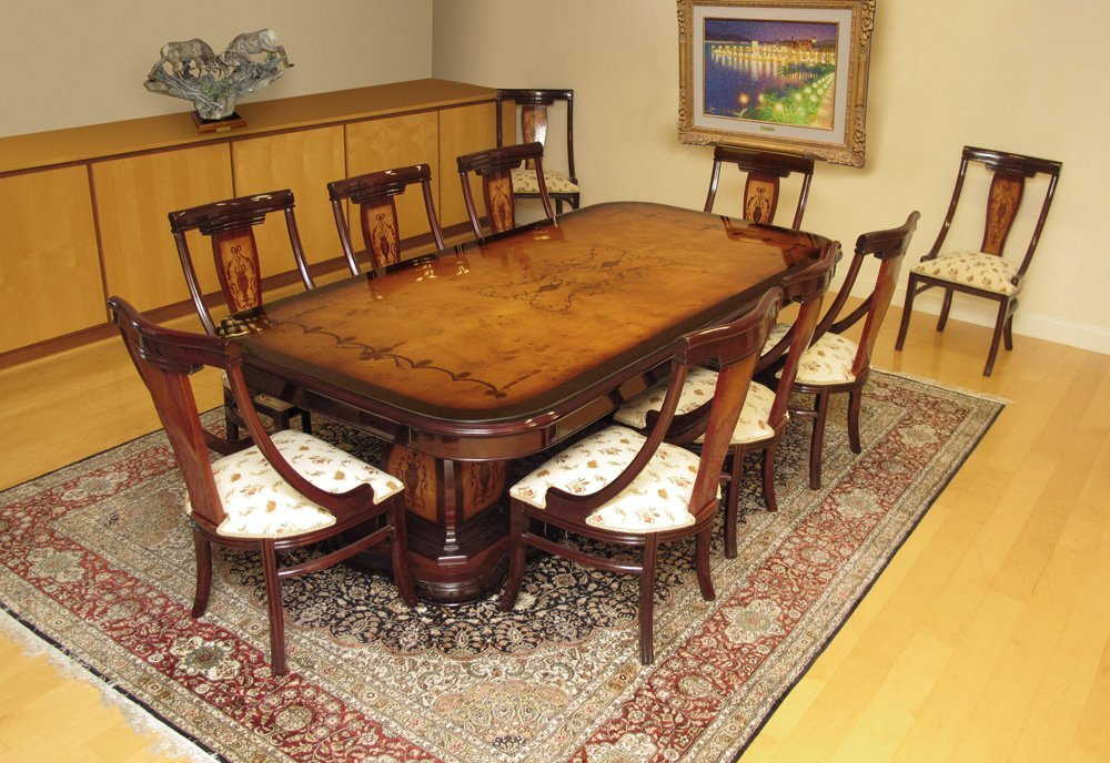 23: MARQUETRY INLAY BURL WOOD DINING TABLE + 10 CHAIRS