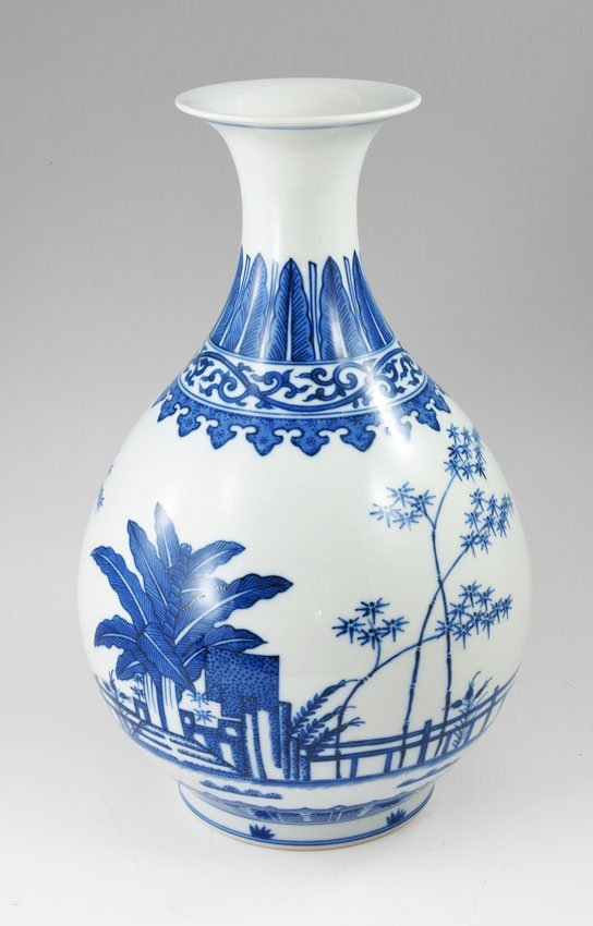 "247: CHINESE BLUE AND WHITE BOTTLE NECK VASE 12.5""."