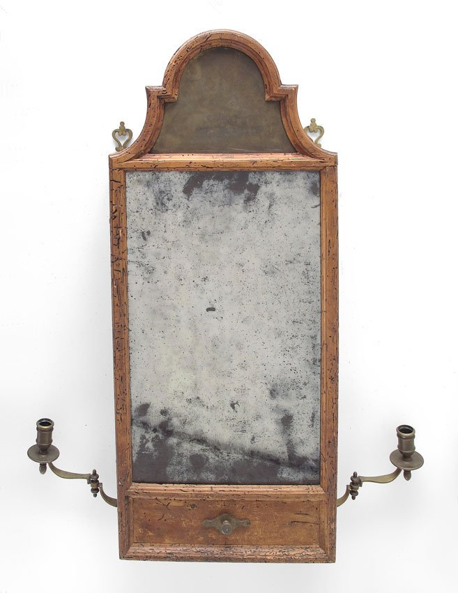 12: EARLY FRENCH WALL MOUNT SHAVING MIRROR