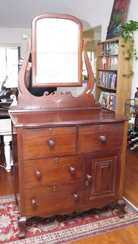 19: VICTORIAN GENTLEMANS CHEST WITH MIRROR