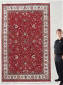"""291A: INDO PERSIAN KASHAN HAND TIED RUG 6'7"""" x 9' 10"""""""