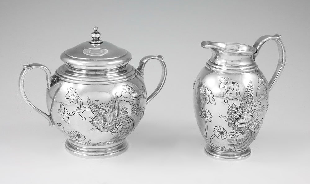 2: 2 PC TIFFANY HAND CHASED STERLING CREAMER & SUGAR