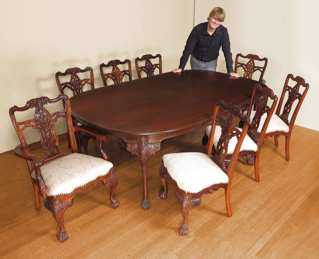 10: HAND CARVED MAHOG. TABLE & CHAIRS DON U. NORES