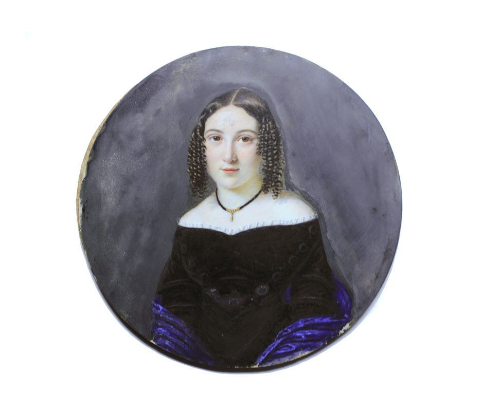 15: EXCELLENT MINIATURE IVORY PORTRAIT OF YOUNG GIRL