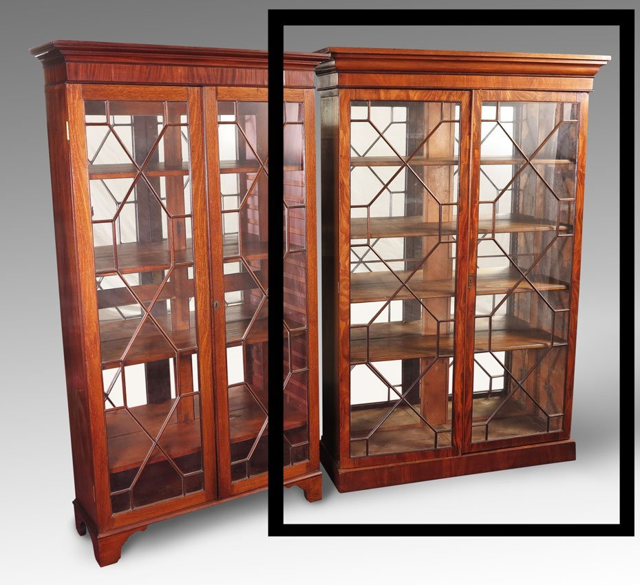 19: ENGLISH DOUBLE DOOR BOOKCASE DISPLAY CABINET