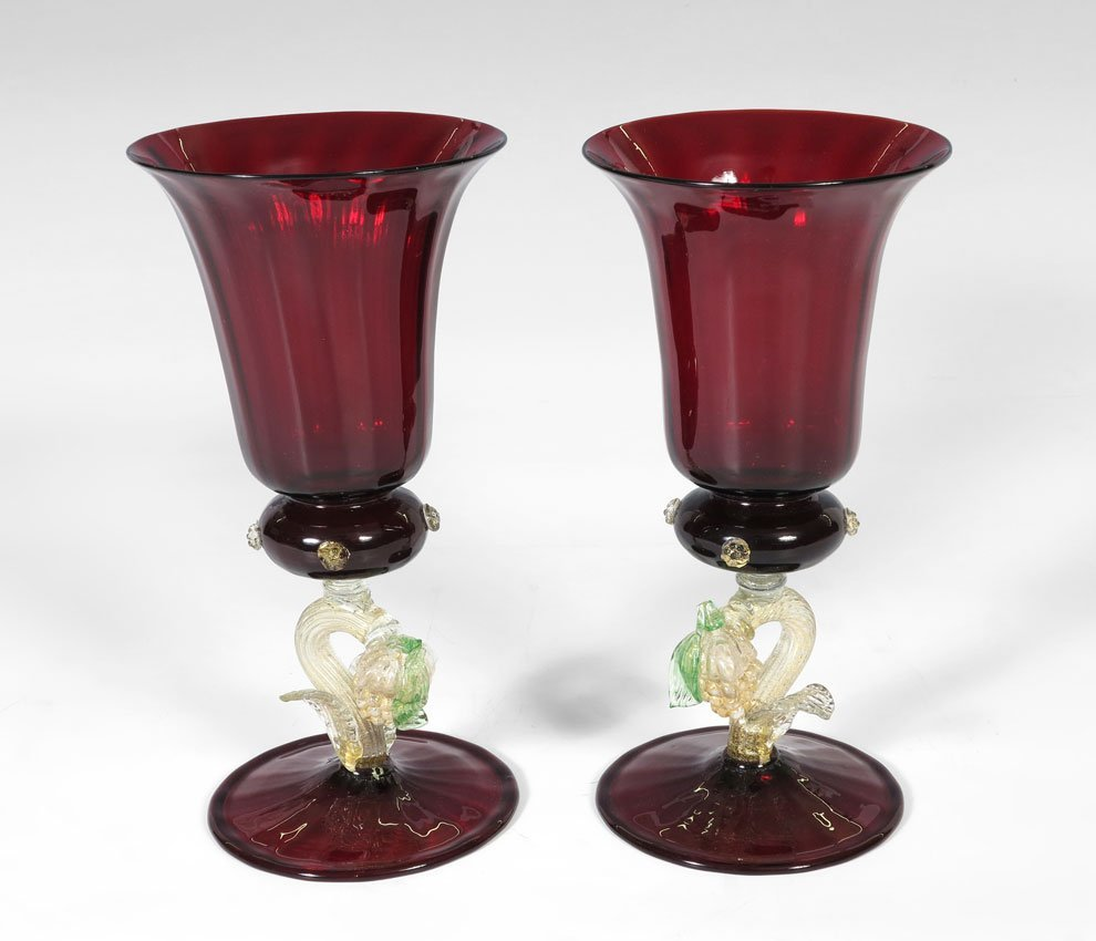 25: PAIR VENETIAN RUBY RED GLASS GOBLETS
