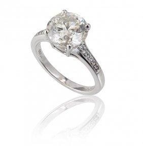 3.15 CT DIAMOND SOLITAIRE PLATINUM RING SZ 6.5