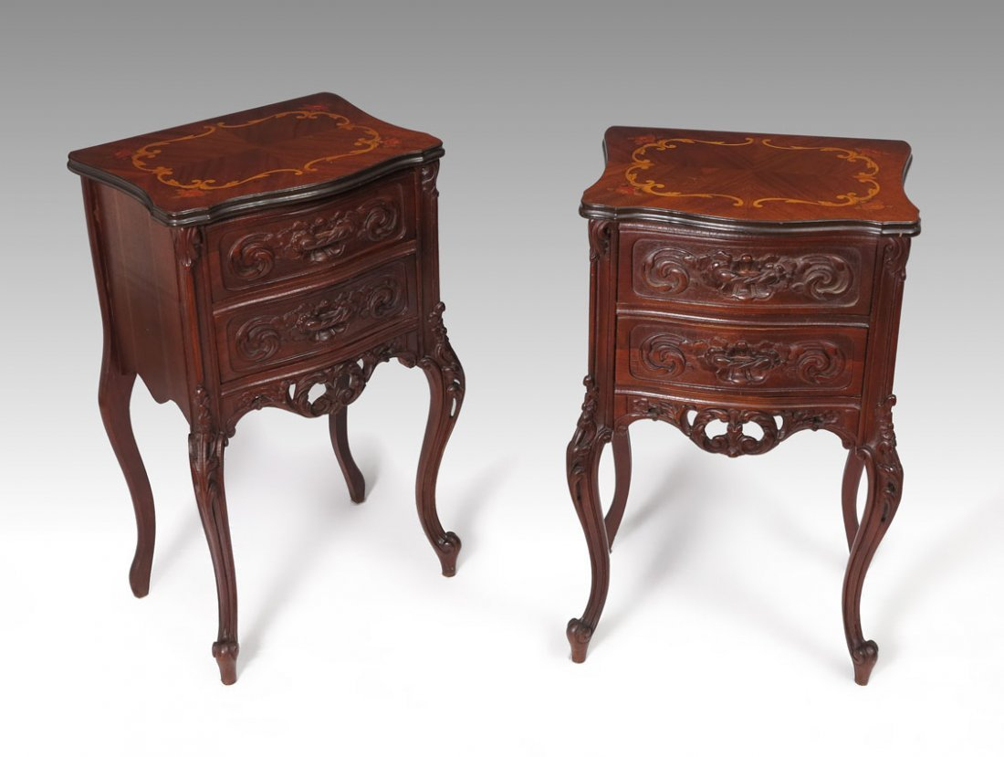 71: PAIR FRENCH 2 DRAWER STANDS