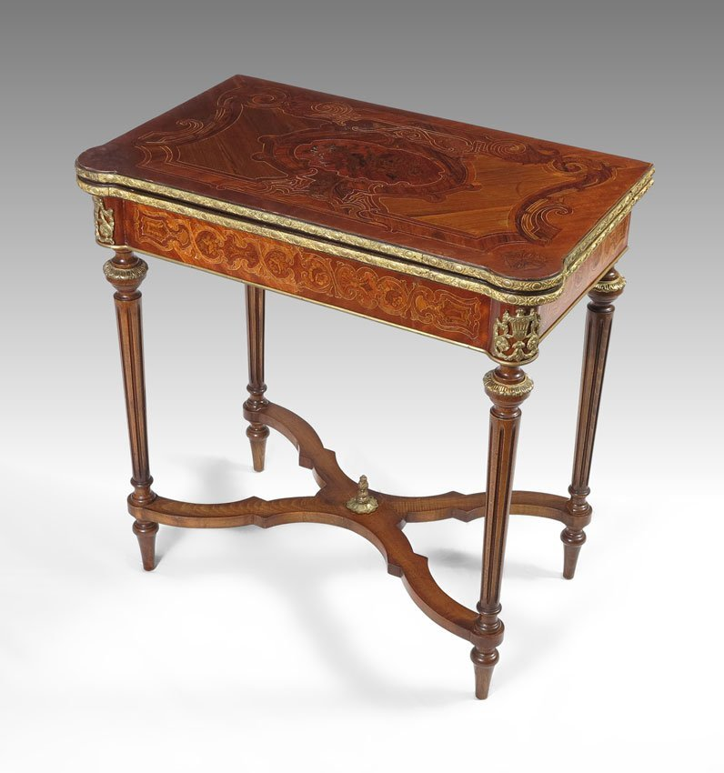 72: FRENCH LOUIS XVI STYLE GAME TABLE