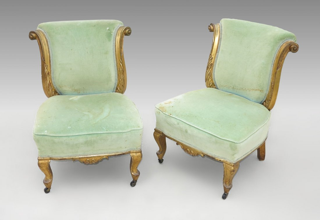 74: PAIR FRENCH SLIPPER CHAIRS