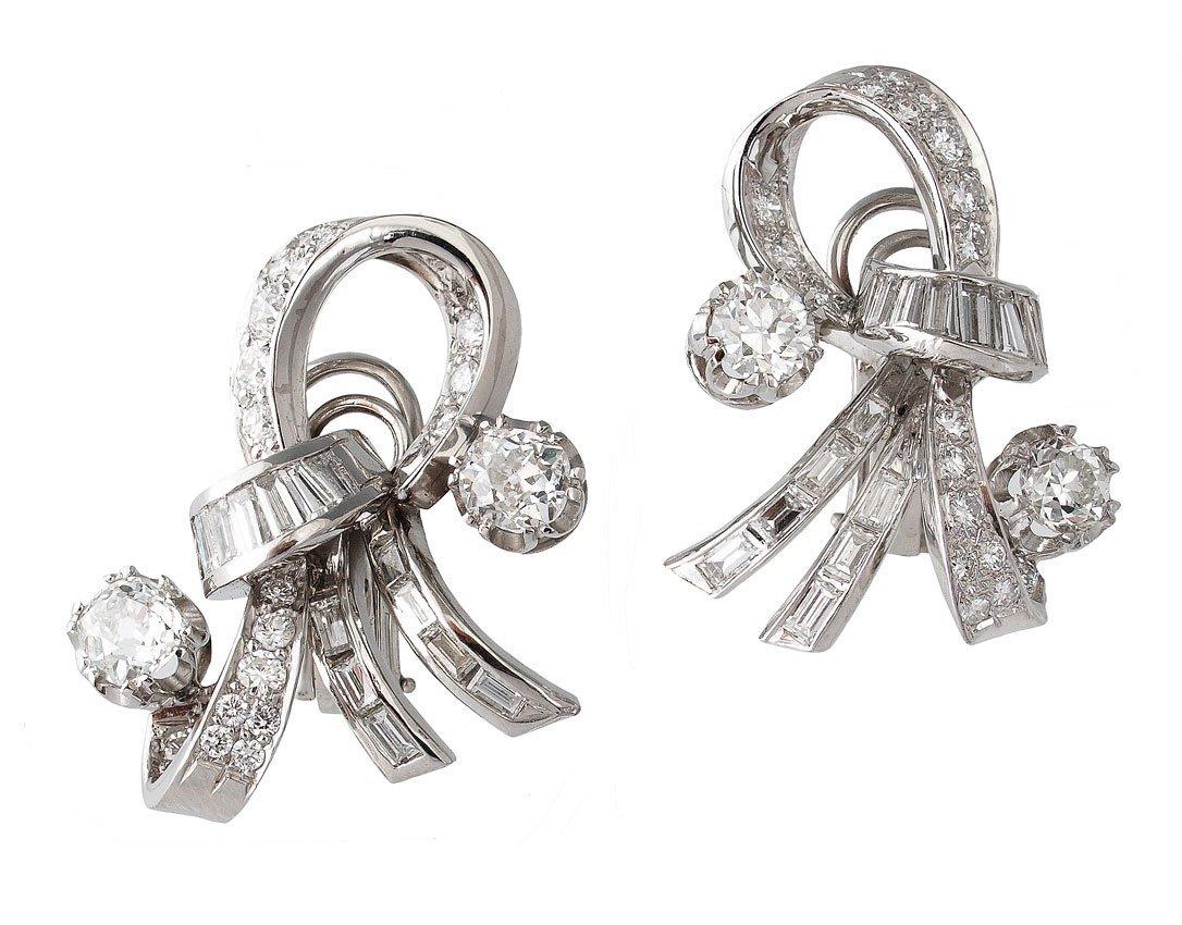77: PLATINUM RETRO DECO 5 CT DIAMOND EARRING CLIPS