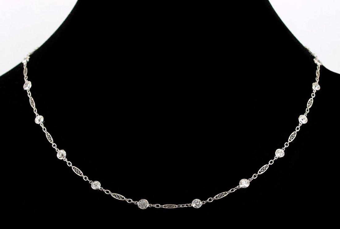 78: PLATINUM 2.67 CTW DIAMOND CHAIN NECKLACE 15''