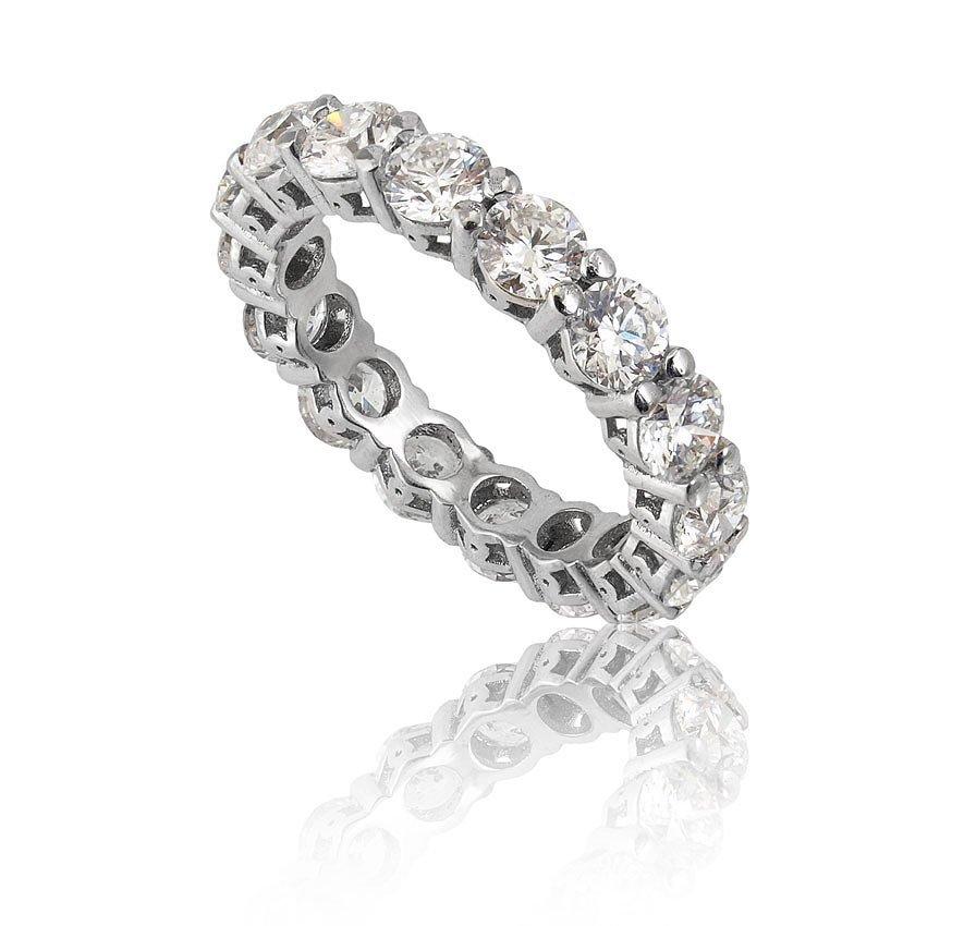 79: 4.10 CTW DIAMOND ETERNITY RING 18K WHITE GOLD SZ 6