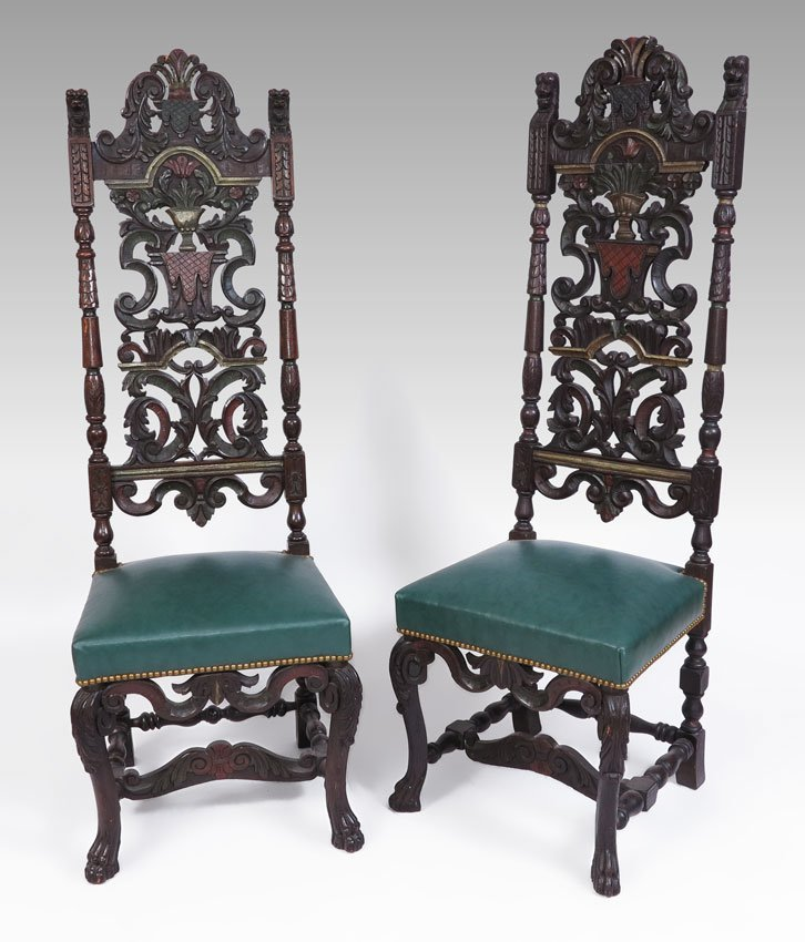 84A: PAIR CARVED ITALIAN STYLE CHAIRS