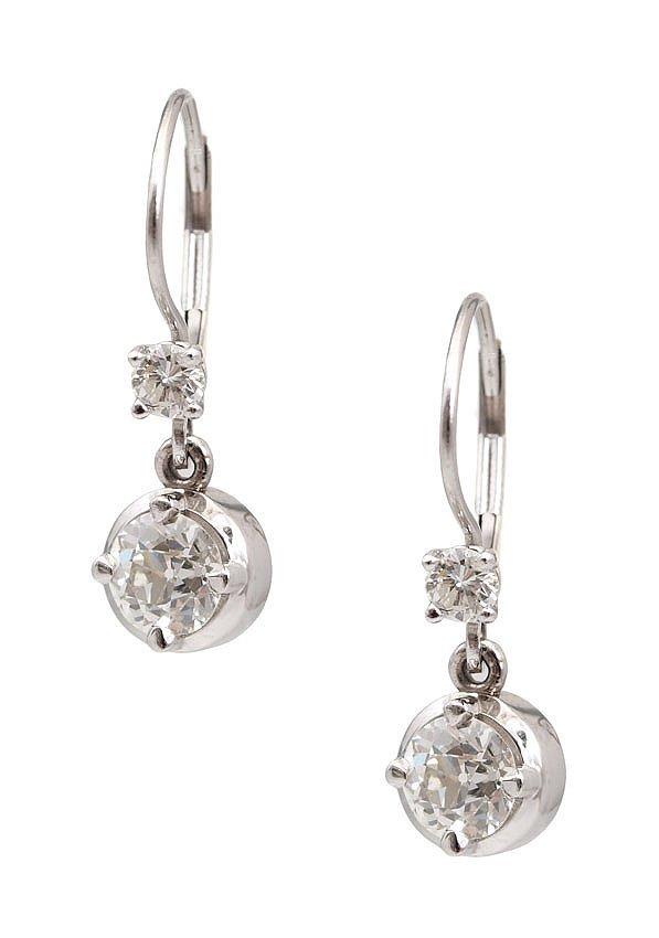 87: 1.58 CTW DIAMOND DROP EARRINGS 14K WHITE GOLD