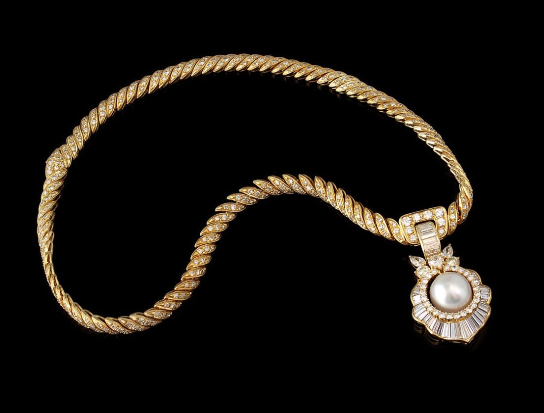 99: 18K GOLD 12.5 CTW DIAMOND SS PEARL NECKLACE 49.6 G