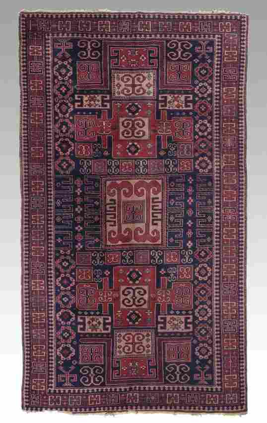 238: SEMI-ANTIQUE CAUCASIAN HAND KNOTTED WOOL RUG 5'x 8