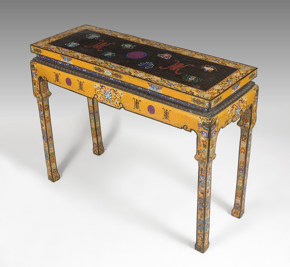11: CHINESE YELLOW CLOISONNE ALTAR TABLE
