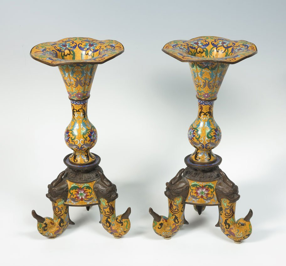 12: CHINESE YELLOW CLOISONNE CANDLE HOLDERS 19'' TALL