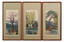 THREE TOSHI YOSHIDA JAPANESE WOODBLOCK PRINTS